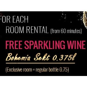 Gift: Bottle of sparkling wine Bohemia Sekt in the room from 60 minutes